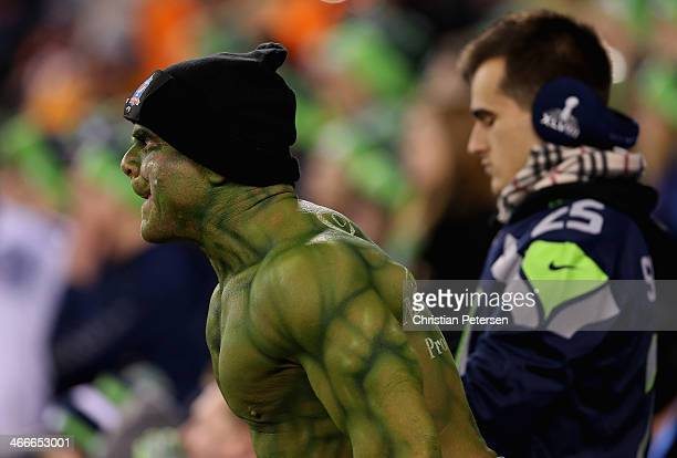Football fan dressed as hulk cheers during Super Bowl XLVIII at MetLife Stadium on February 2 2014 in East Rutherford New Jersey