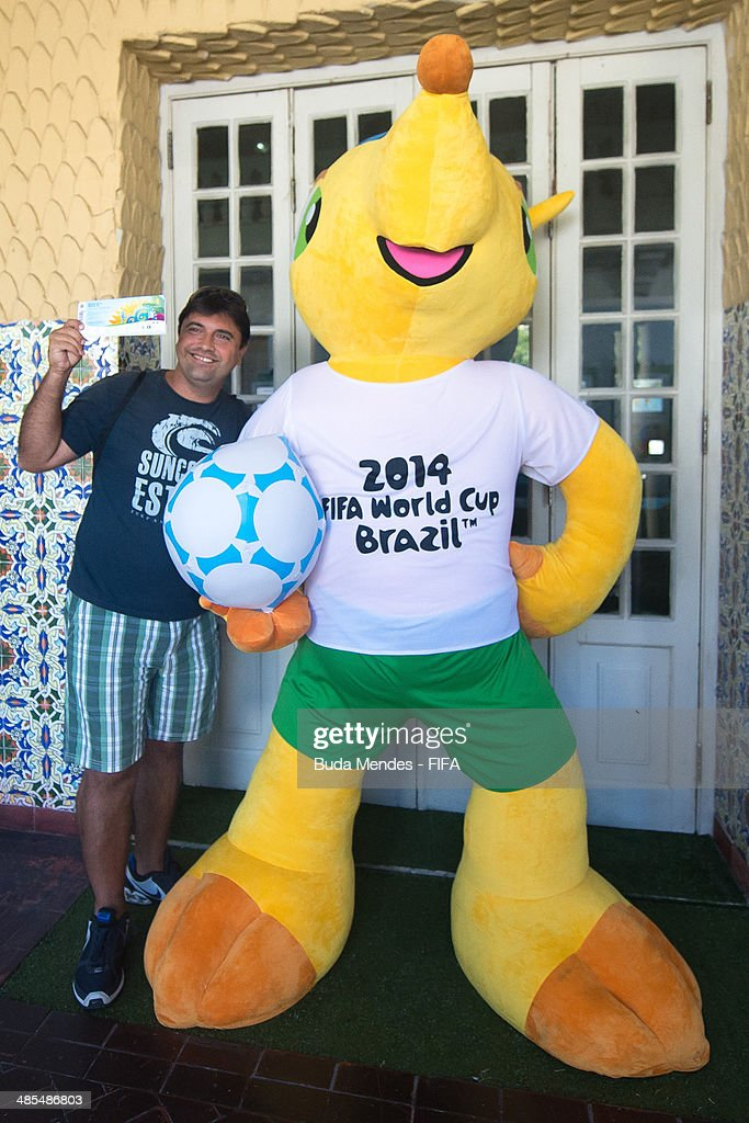 A football fan purchases tickets during FIFA venue ticketing centre opening for the 2014 FIFA World Cup Brazil at Casarao General Severiano on April 18, 2014 in Rio de Janeiro, Brazil.
