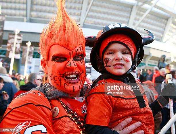Football fans arrive outside BC Place stadium before the 102nd Grey Cup Championship Game between the Calgary Stampeders and the Hamilton TigerCats...