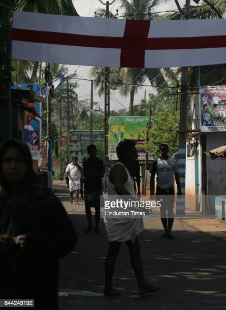 Football fans display the flex and flags in the Ninanivalappu a small hamlet on the Kozhikode city