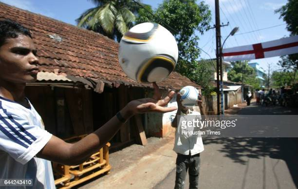 Football fans display the flex and flags Play games on roads in Ninanivalappu a small hamlet on the Kozhikode city