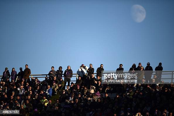 Football fans follow the Italian Serie A football match Fiorentina vs Empoli at the Artemio Franchi Stadium on November 22 2015 in Florence AFP PHOTO...