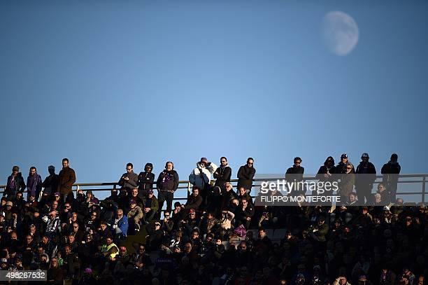 Football fans follow the Italian Serie A football match Fiorentina vs Empoli at the Artemio Franchi Stadium on November 22 2015 in Florence AFP PHOTO...