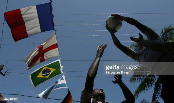 Football fans Play games and display the flex and flags in the Ninanivalappu a small hamlet on the Kozhikode city