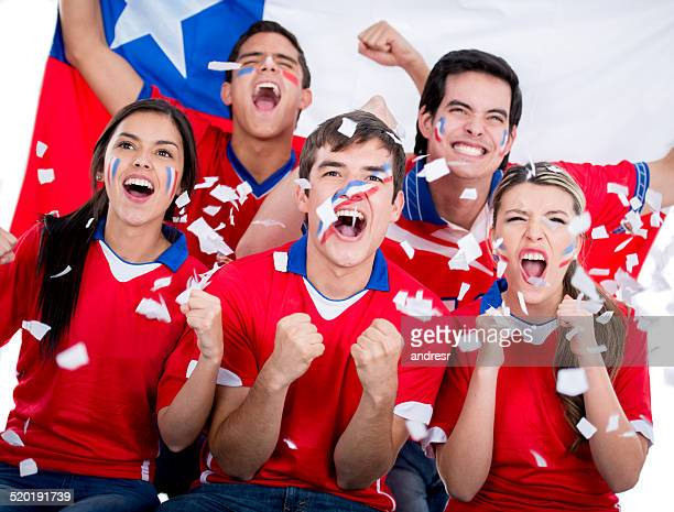 Football fans supporting Chile