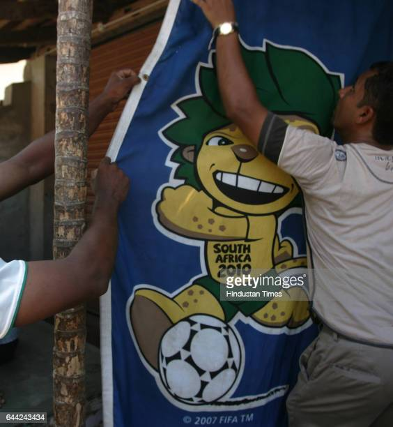 Football fans take a off for the office for preparation of the world cup Soccer mood in its Zenith in Ninanvalappua small hamlet on the outskirst of...