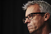 Football Federation Australia CEO David Gallop speaks to media representatives at Parliament House on February 7 2013 in Canberra Australia The...