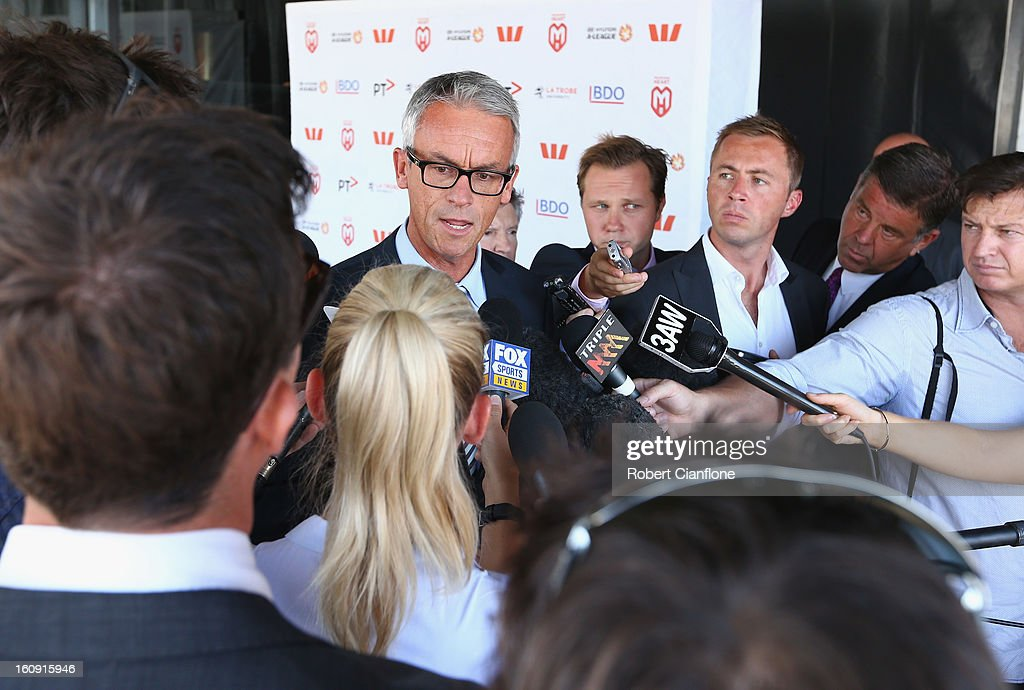 Football Federation Australia CEO <a gi-track='captionPersonalityLinkClicked' href=/galleries/search?phrase=David+Gallop&family=editorial&specificpeople=579322 ng-click='$event.stopPropagation()'>David Gallop</a> speaks to the media during an A-League press conference at The Peninsula on February 8, 2013 in Melbourne, Australia.