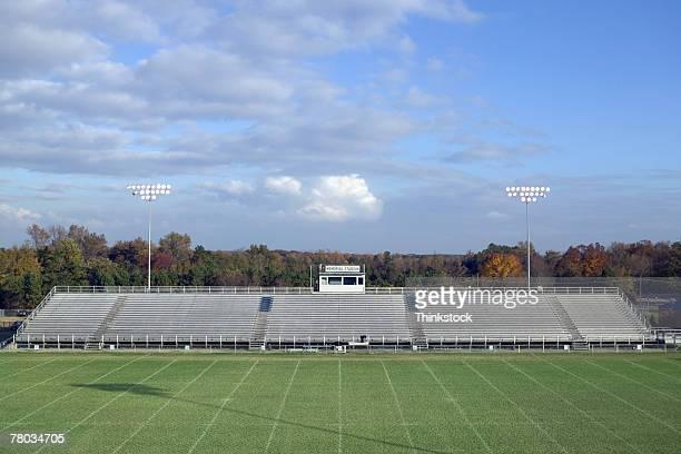 Football field and bleachers