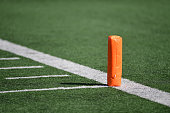 A pylon on a football field.