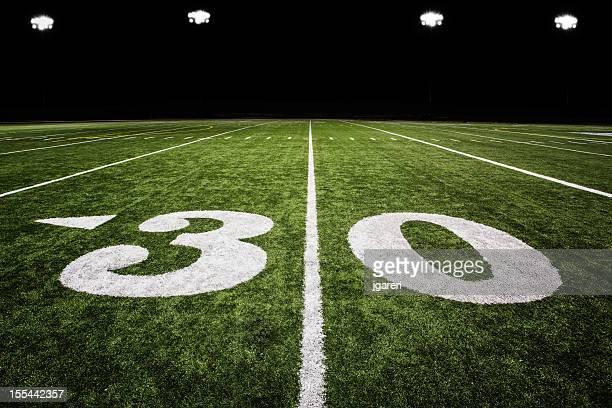 A football field with green grass