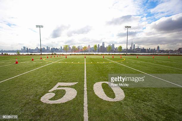 Football field with Manhattan in background