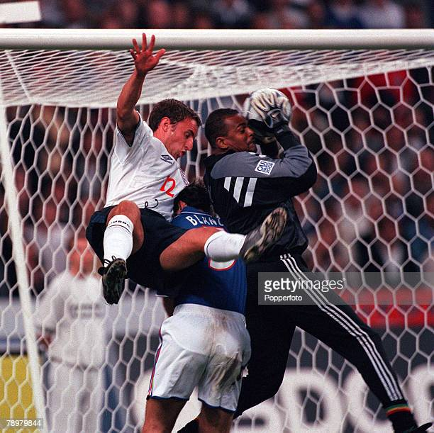 Football Friendly International Stade de France Paris France 2nd September 2000 France 1 v England 1 French Defender Laurent Blanc is sandwiched by...