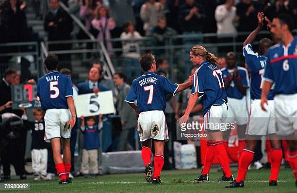 Football Friendly International Stade de France Paris France 2nd September 2000 France 1 v England 1 French Internationals Laurent Blanc and Didier...
