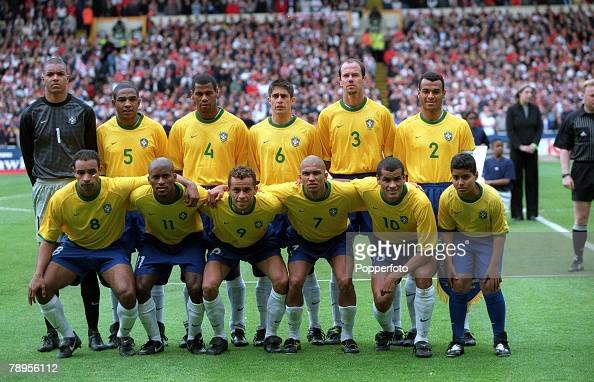 Football Friendly International Wembley 27th May England 1 v Brazil 1 The Brazilian team pose for a group photo before the match