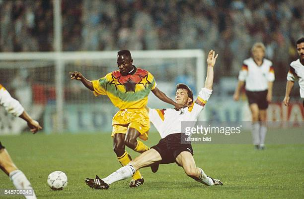 Football friendly match in Bochum Germany vs Ghana 61 scene of the match Lothar Matthäus tackles Abedi Pele April 14 1993