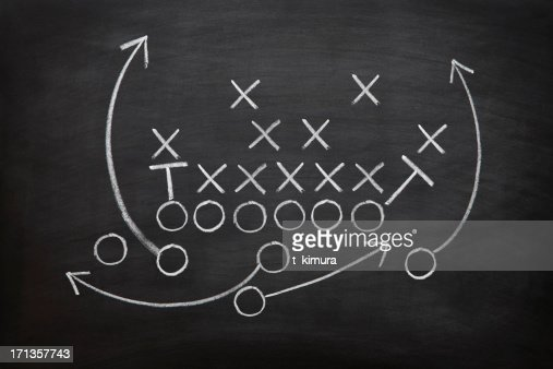 Football game plan on blackboard with white chalk