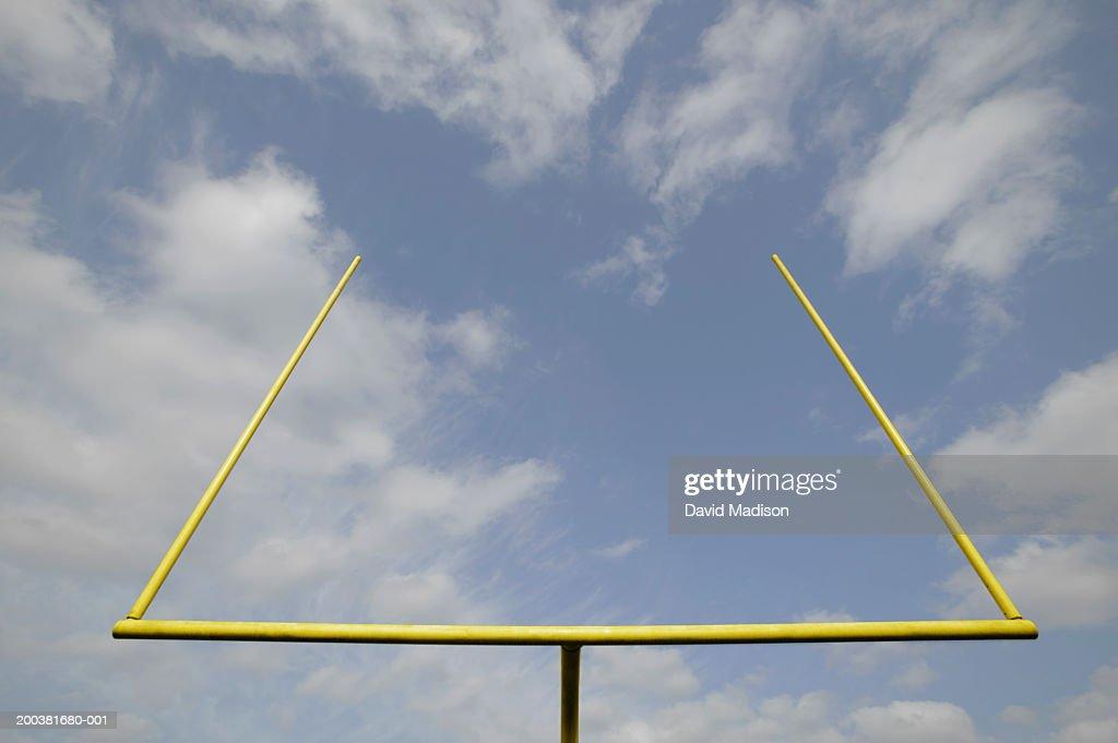 Football goal post, low angle view