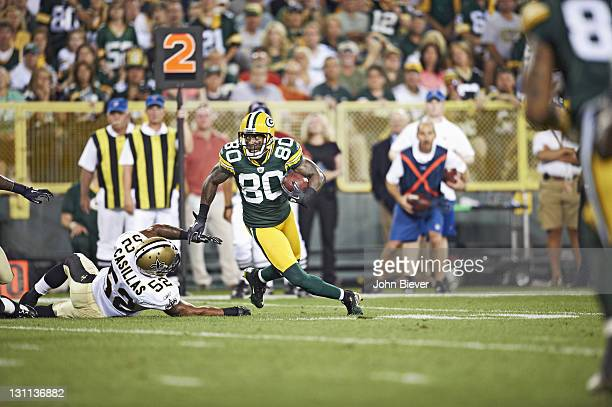 Green Bay Packers Donald Driver in action vs New Orleans Saints at Lambeau Field Green Bay WI CREDIT John Biever