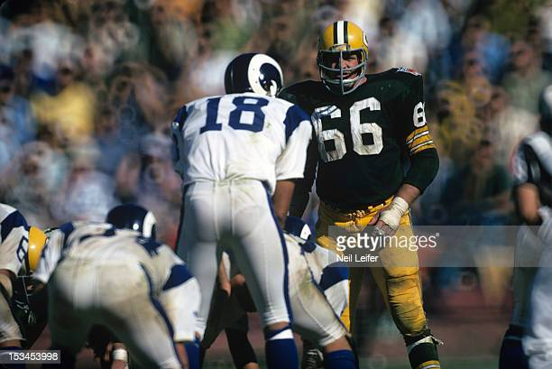 Green Bay Packers Ray Nitschke on field before snap by Los Angeles Rams QB Roman Gabriel at Los Angeles Memorial Coliseum Los Angeles CA CREDIT Neil...