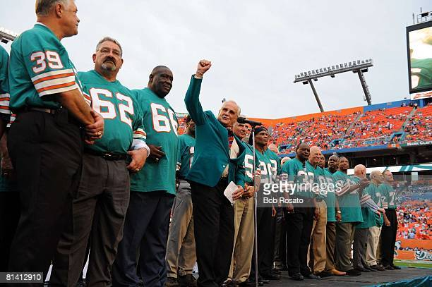 Football Hall of Famer and former Miami Dolphins coach Don Shula at ceremony for 1972 undefeated team during halftime of game vs Baltimore Ravens...