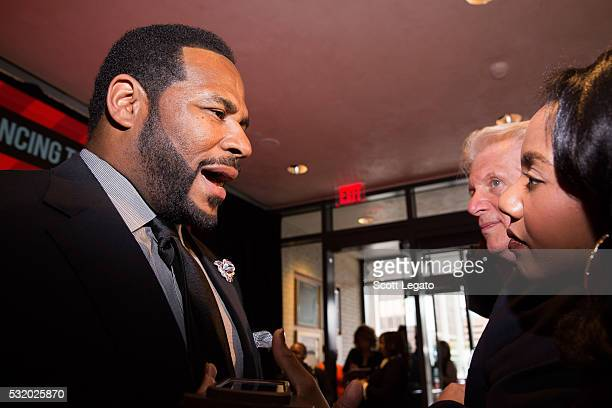 Football Hall of Famer Jerome 'The Bus' Bettis gets interviewed on the red carpet at Max M Marjorie S Fisher Music Center during the 18th Annual Ford...