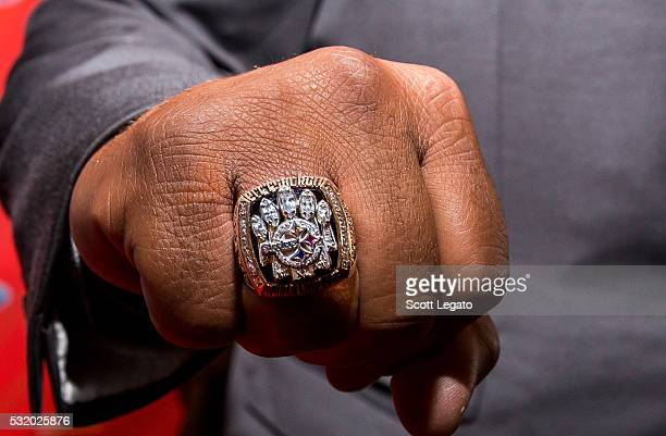 Football Hall of Famer Jerome 'The Bus' Bettis poses and shows off his Superbowl 40 ring on the red carpet at Max M Marjorie S Fisher Music Center...