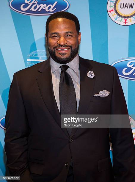 Football Hall of Famer Jerome 'The Bus' Bettis poses on red carpet at Max M Marjorie S Fisher Music Center during the 18th Annual Ford Freedom Award...