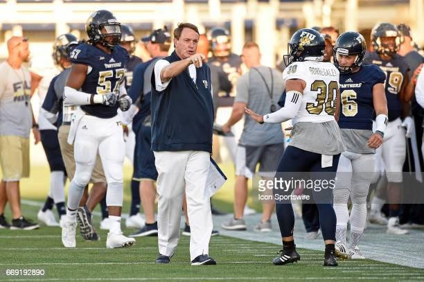 Football Head Coach Butch Davis instructs his players during the game as the FIU Golden Panthers held their annual spring game on April 7 at Riccardo...