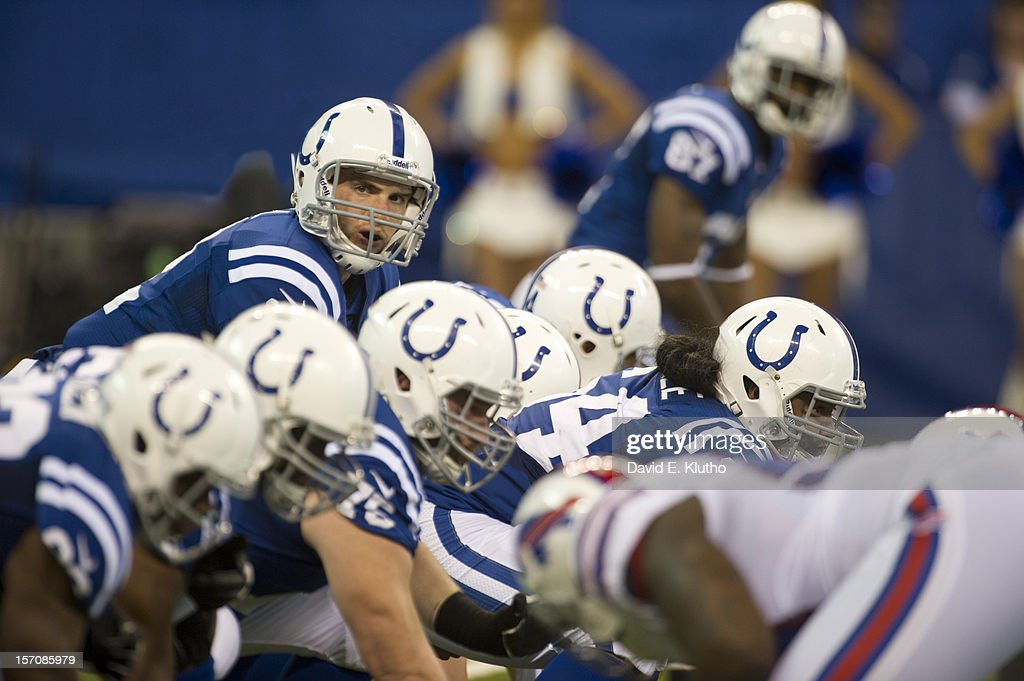 Indianapolis Colts QB Andrew Luck (12) at line of scrimmage during game vs Buffalo Bills at Lucas Oil Stadium. Cover. David E. Klutho F434 )