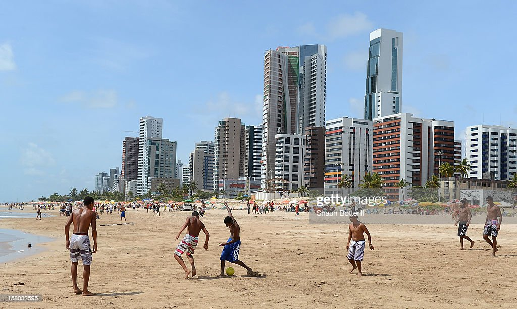 Football is played on Boa Viagem beach on December 9, 2012 in Recife, Brazil.