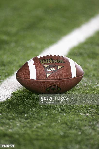 A football is shown during the Boston College Eagles game against the Florida State Seminoles at Alumi Stadium on September 17 2005 in Chestnut Hill...