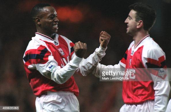 Football League Cup Arsenal v Nottingham Forest Ian Wright celebrates the 2nd of his 2 goals with Nigel Winterburn