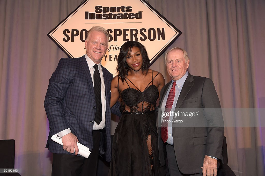 Football legend Boomer Esiason, SI 2015 Sportsperson of the Year Serena Williams and SI Muhammad Ali Legacy Award Recipient Jack Nicklaus attend Sports Illustrated Sportsperson of the Year Ceremony 2015 at Pier 60 on December 15, 2015 in New York City.