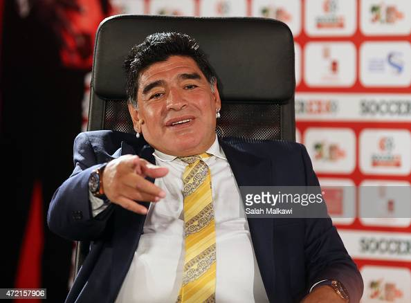 Football legend Diego Armando Maradona shares his experience during the session' El Diego An Interview With Diego Maradona' on the second day of...