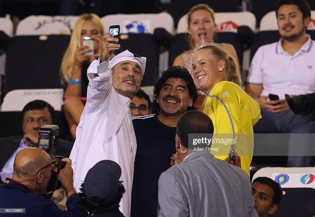 Football legend, <a gi-track='captionPersonalityLinkClicked' href=/galleries/search?phrase=Diego+Maradona&family=editorial&specificpeople=210535 ng-click='$event.stopPropagation()'>Diego Maradona</a> meets <a gi-track='captionPersonalityLinkClicked' href=/galleries/search?phrase=Caroline+Wozniacki&family=editorial&specificpeople=740679 ng-click='$event.stopPropagation()'>Caroline Wozniacki</a> of Denmark during day three of the WTA Dubai Duty Free Tennis Championship on February 20, 2013 in Dubai, United Arab Emirates.