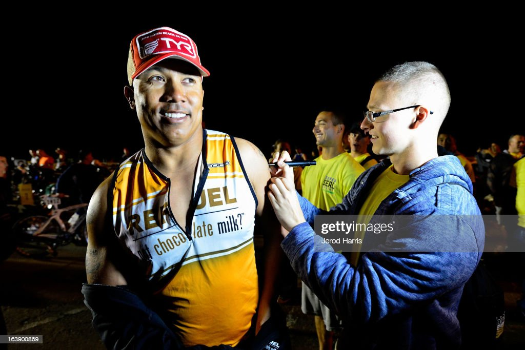 Football legend <a gi-track='captionPersonalityLinkClicked' href=/galleries/search?phrase=Hines+Ward&family=editorial&specificpeople=202597 ng-click='$event.stopPropagation()'>Hines Ward</a> prepares to tackle his first ever triathlon with REFUEL | 'Got Chocolate Milk?' on March 17, 2013 in San Diego, California.