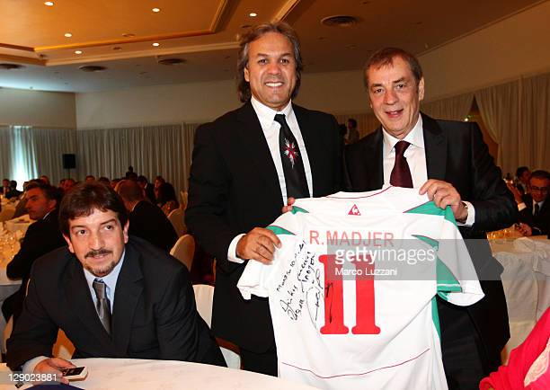 Football legend Rabah Madjer and World Champions Club President Antonio Caliendo attend the Golden Foot Ceremony Awards on October 10 2011 in Monaco...