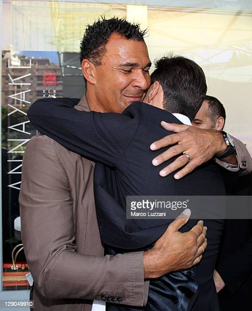 Football legend Ruud Gullit and Javier Zanetti visit the Champions Promenade on October 10 2011 in Monaco Monaco