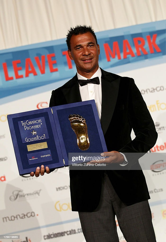 Football legend <a gi-track='captionPersonalityLinkClicked' href=/galleries/search?phrase=Ruud+Gullit&family=editorial&specificpeople=2104975 ng-click='$event.stopPropagation()'>Ruud Gullit</a> attend the Golden Foot Ceremony Awards on October 10, 2011 in Monaco, Monaco.
