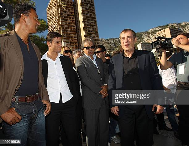 Football legend Ruud Gullit Javier Zanetti Rabah Madjer and World Champions Club President Antonio Caliendo visit the Champions Promenade on October...
