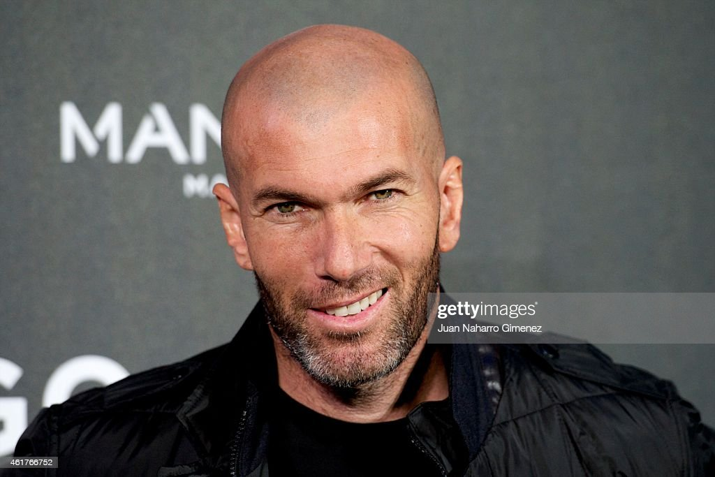Football legend <a gi-track='captionPersonalityLinkClicked' href=/galleries/search?phrase=Zinedine+Zidane&family=editorial&specificpeople=172012 ng-click='$event.stopPropagation()'>Zinedine Zidane</a> is presented as the new face of Mango Man's spring-summer 2015 campaign at Camera Studio on January 19, 2015 in Madrid, Spain.