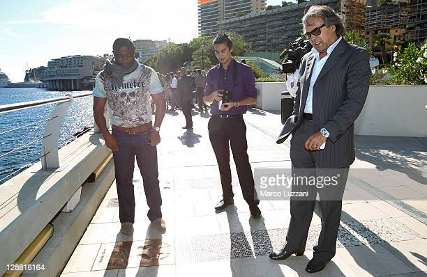 Football legends Abedi Pele and Rabah Madjer visit the Champions Promenade on October 10 2011 in Monaco Monaco