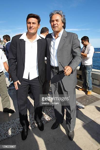 Football legends Javier Zanetti and Rabah Madjer visit the Champions Promenade on October 10 2011 in Monaco Monaco