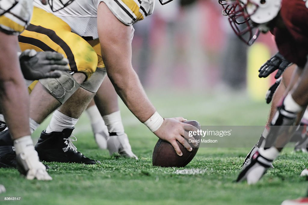 Football line of scrimmage : Stock Photo