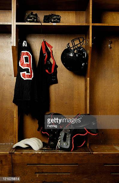 Football locker room, retro, old school.