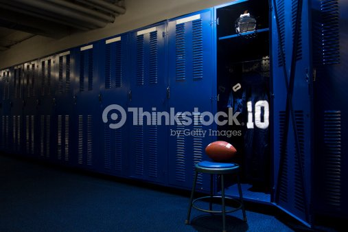 Football locker room with open locker