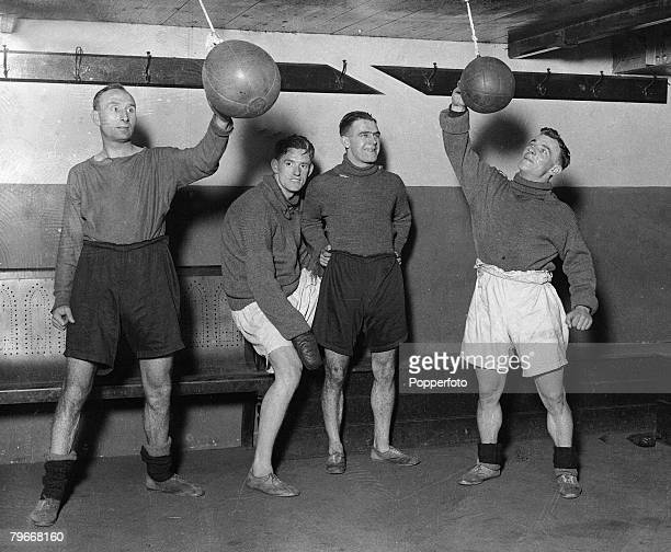 Football London England 26th February 1931 Chelsea players LR Syd Biston Barber Cheyne and Pearson using a punch bag as they practice in the Stamford...