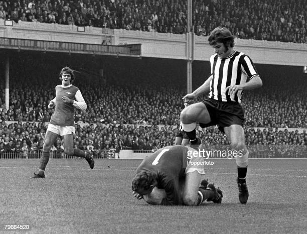 Football London England 9th October 1971 Arsenal 4 v Newcastle United 2 Arsenals goalkeeper Bob Wilson saves at the feet of Newcastles Malcolm...
