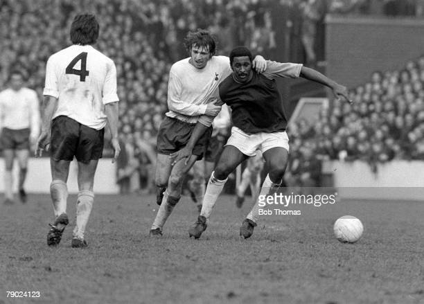 Football London England League Division One West Ham United v Tottenham Hotspur West Ham's Clyde Best is held by Martin Peters of Spurs during the...